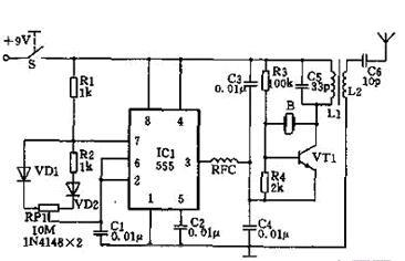 vt1振荡产生的高频载波经555电路③脚的方波信号调制,由天线发射出去.
